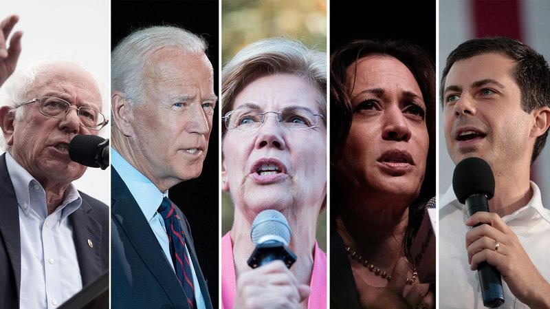 Fra venstre mod højre: Bernie Sanders, Joe Biden, Elizabeth Warren, Kamala Harris and Pete Buttigieg.