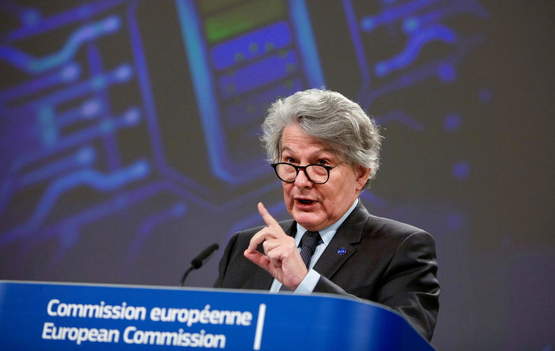 FILE PHOTO: European Commissioner for Internal Market Thierry Breton attends a news conference in Brussels